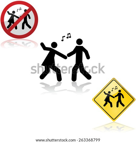Icon set with signs showing a couple dancing - stock vector