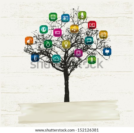 icon set with tree