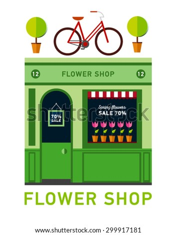 Icon shop or stores with long shadow. Vector illustration.Flat design square architecture web icon on old style local flowers shop store front facade with flowers exposed in windows. Sign on the door - stock vector