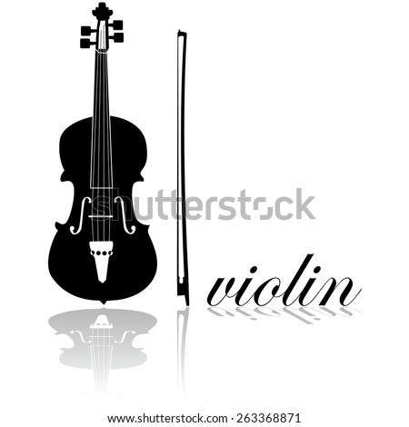 Icon showing a violin combined with the word 'violin' written in cursive mode - stock vector