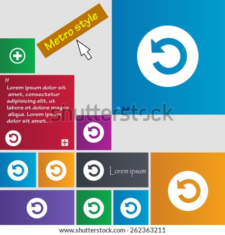 icon sign. Metro style buttons. Modern interface website buttons with cursor pointer. Vector illustration - stock vector