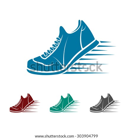 icon sports shoes - stock vector