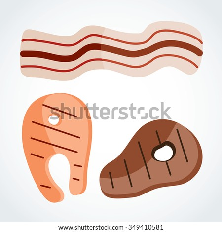 Icon steak with bacon Pork and beef - stock vector