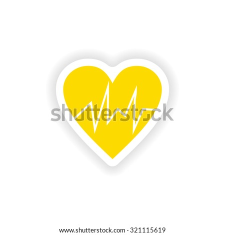 icon sticker realistic design on paper logo cardiology - stock vector