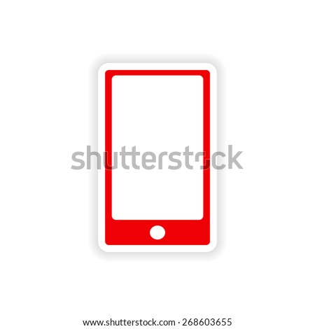 icon sticker realistic design on paper phone touch  - stock vector