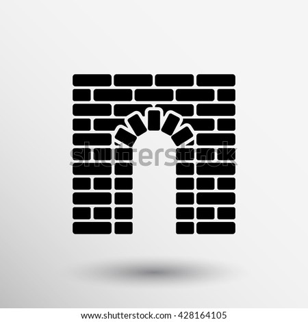 icon stone wall opening brick archway history - stock vector