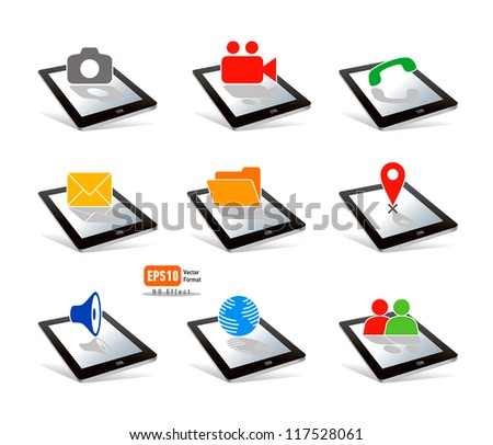icon tablet pc touchpad display color  photo video call send  folder map music browser people on white background - stock vector