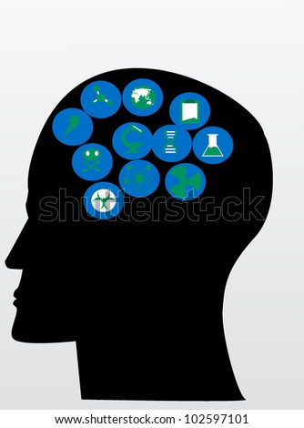 icon to the science of human brain - stock vector