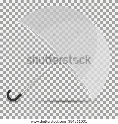 Icon transparent umbrella with drops on paper with shadow. - stock vector