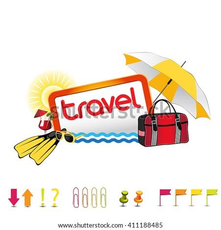 icon travel set design color - stock vector