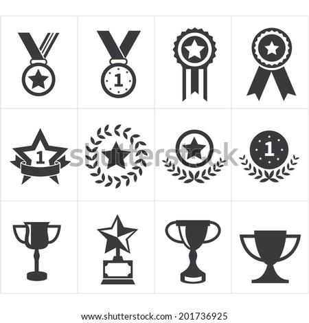 icon trophy award - stock vector