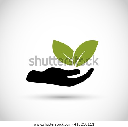 Icon vector -hand with leaf  - stock vector