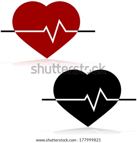 Icon vector illustration showing a heart and a line monitoring the heart rate on top of it - stock vector