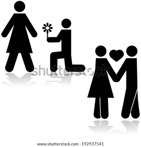 Icon vector illustration showing a man kneeling with a flower in front of a woman and then the couple holding hands - stock vector