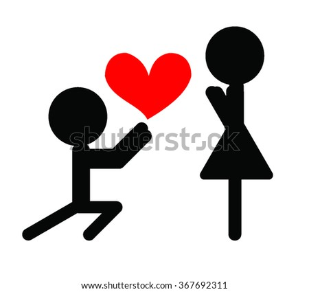 Icon vector illustration showing a man kneeling with a heart in front of a woman  - stock vector