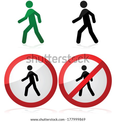 Icon vector illustration showing a man walking as well as a walking allowed and prohibited signs - stock vector