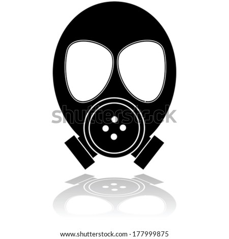 Icon vector illustration showing a mask used for protection against poisonous gas  - stock vector