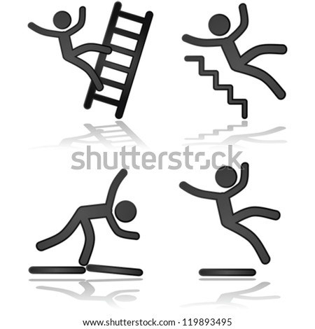 Icon vector illustrations showing a person falling in different types of situations - stock vector