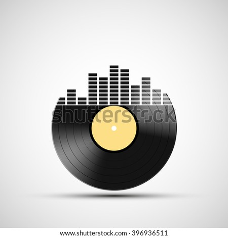 Icon vinyl record with a sound equalizer. Stock vector illustration. - stock vector