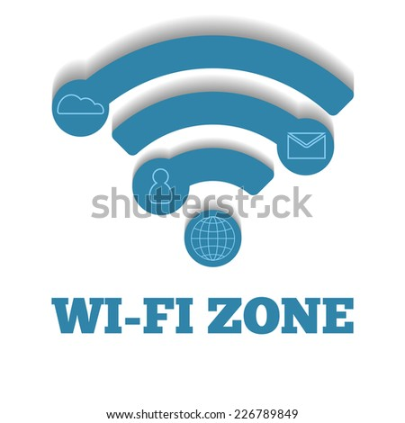 Icon WIFI zone, free wi-fi - stock vector