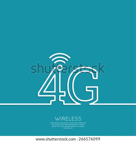 Icon Wireless 4g. New technology, high speed internet access. Open access. Wi fi icon. Outline. minimal. - stock vector