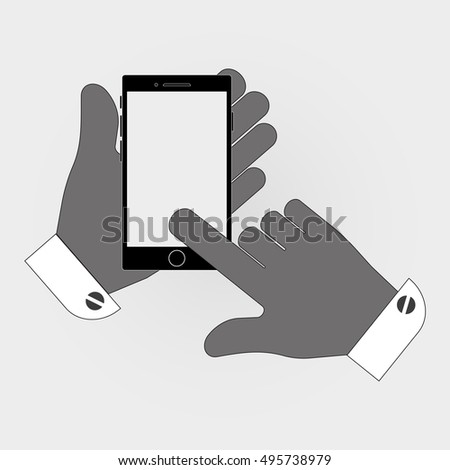 Icon with a black screen phone in hand. stylish vector illustration for web design