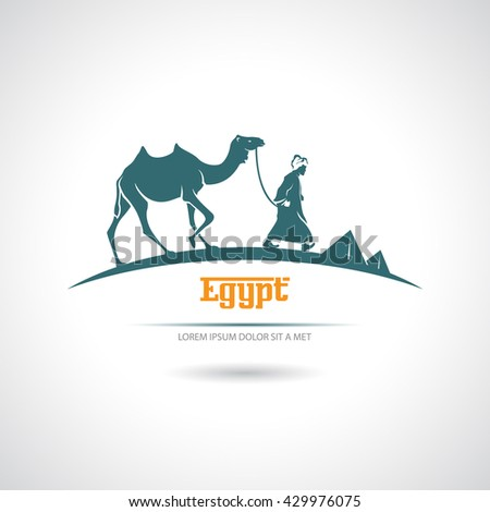 Icon with a camel driver and camel. Egypt. - stock vector