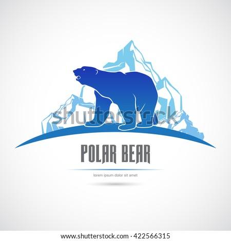 Icon with a polar bear on an iceberg. - stock vector