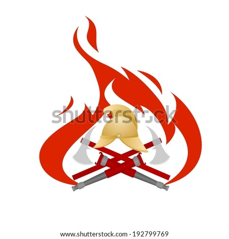 Icon with a set of objects and tools on a background of flames. Illustration on white background.