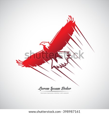 Icon with a soaring eagle. - stock vector