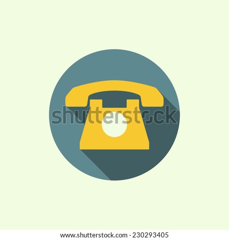 Icon with an old rotary telephone. Call technical support. Contacts. flat design with long shadows - stock vector