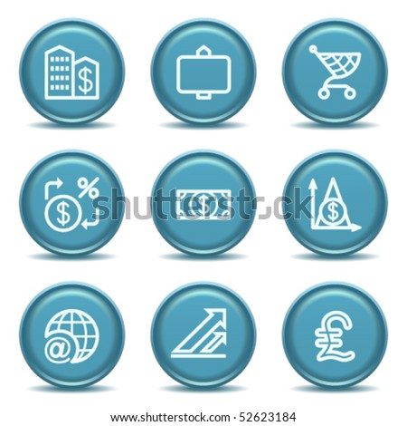 Icon with blue button 23 - stock vector
