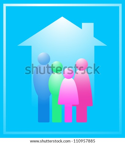 icon with colorful family in house silhouette - stock vector