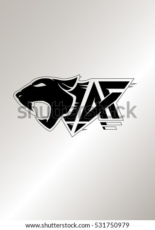 "Icon with head of a panther and letters ""A"" and ""F"". Template for identity, logo and prints"