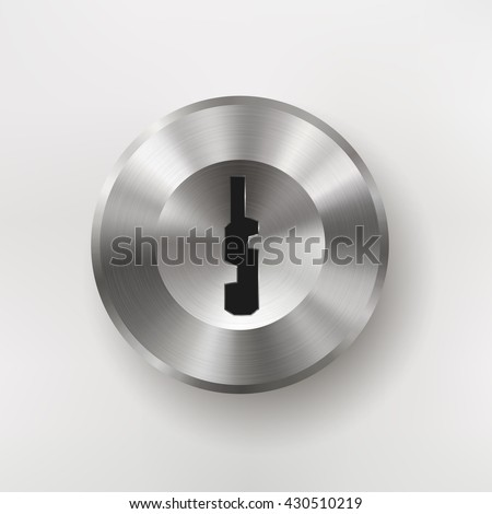 Icon with keyhole, blank button template with realistic metal texture, for users interfaces, applications and apps, EPS 10 contains transparency - stock vector