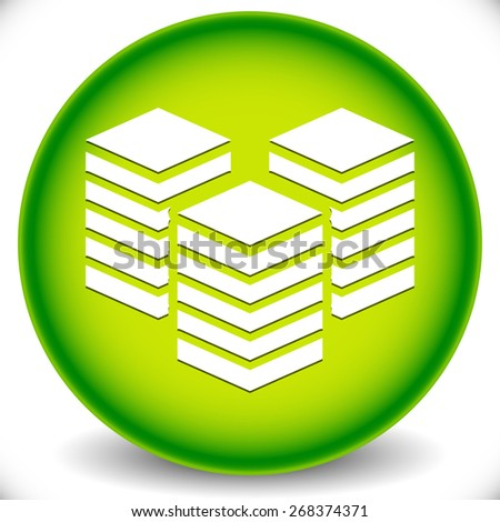 Icon with Layered Tower Symbol for Webhosting, Server, Database Concepts - stock vector