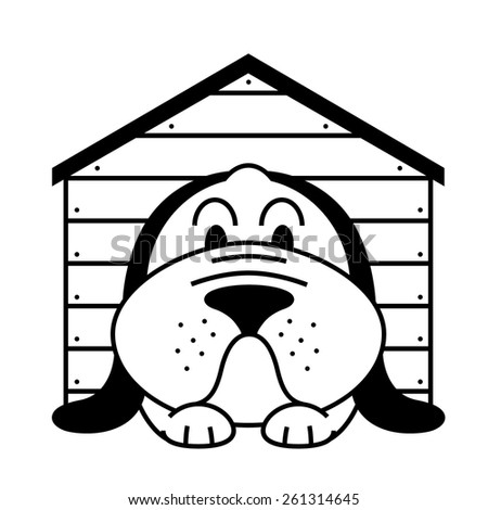 icon with lying in a kennel dog - stock vector