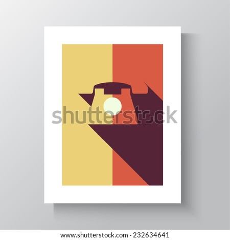 Icon with old rotary telephone in photo frame. Call technical support. Contacts. flat design with long shadows. Vintage poster 60s, 70s  - stock vector