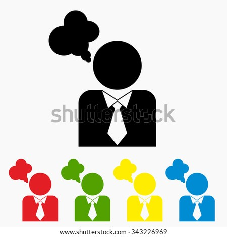 Icon with person and dialog speech bubbles. Vector illustration. Different colors.