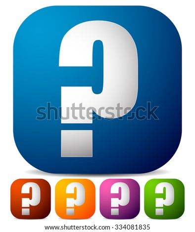 Icon with question mark in 5 color. Questions, support, quiz icon. - stock vector