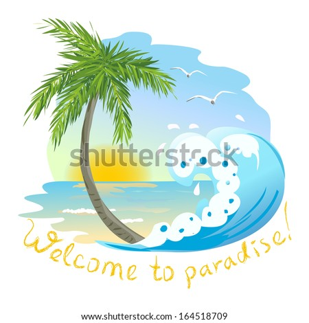 icon with the sea and palm tree. vector illustration - stock vector