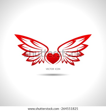 Icon with wings. - stock vector
