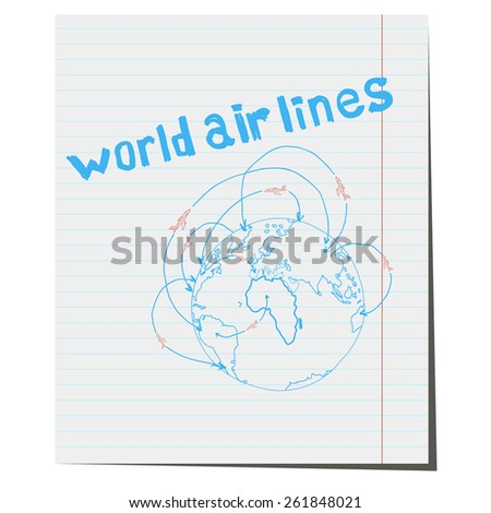 Icon world airlines hand-drawn - stock vector