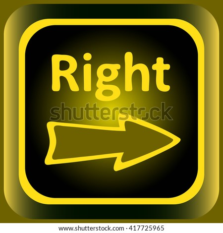 Icon yellow to the right - stock vector