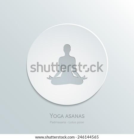 Icon yoga asanas. Padmasana. Lotus pose. Cut-out paper Design. Vector Illustration, eps 10 - stock vector