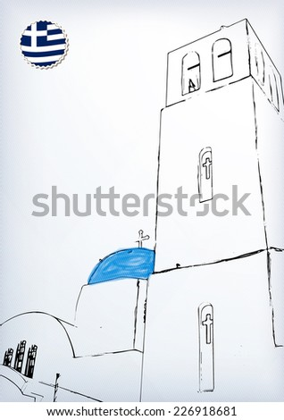 Iconic church with blue cupola Santorini, Cyclades, Greece - stock vector