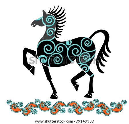 iconic horse (use with or without pattern) - stock vector