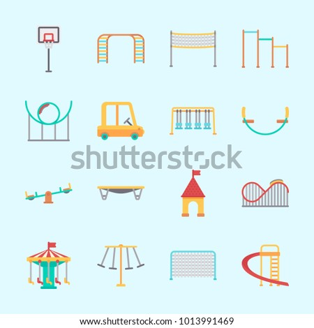Icons about Amusement Park with swings, carousel, slide, horizontal bar, climbing and swing