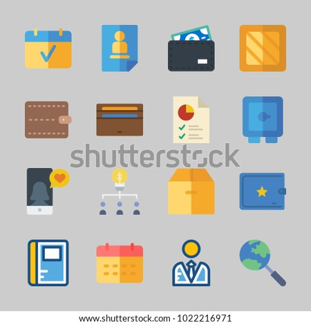 Icons about Business with search, calendar, pie chart, safebox, wallet and notebook