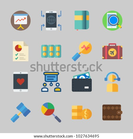 Icons about Business with wallet, presentation, telemarketer, coins, suitcase and agenda